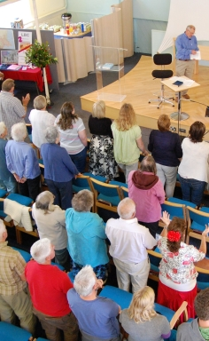 Some of us at Lymington Baptist Church having a chat after Sunday Service